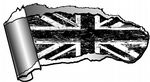 Ripped Open Gash Torn Metal Design With Grunge B&W Union Jack Flag Motif Vinyl Car Sticker 140x75mm